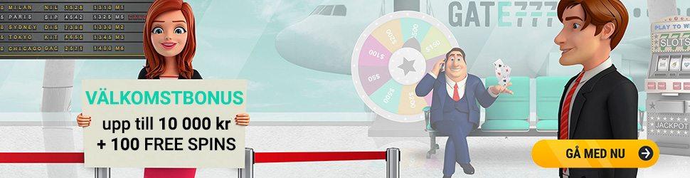 Gate777 casino välkomstpaket ger dig upp till 10 000 kr och 100 free spin