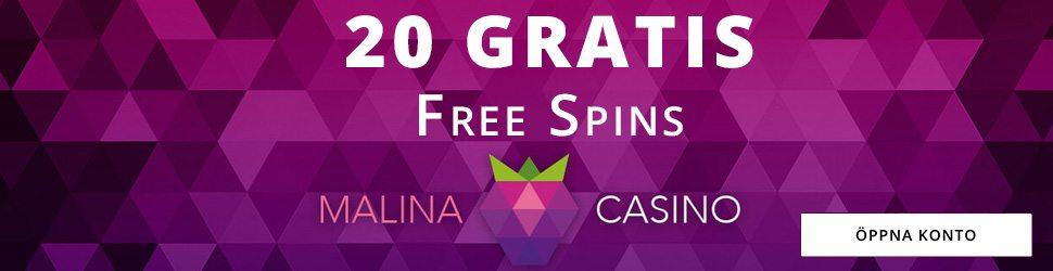 Malina Casino insättningsfria spins vid registrering