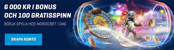Få med Nordicbet casino upp till 6 000kr i välkomstbonus