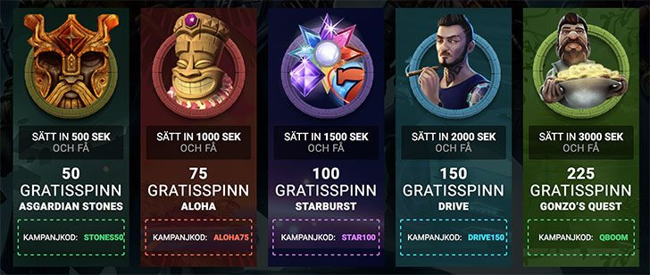 QB Casino free spins erbjudande