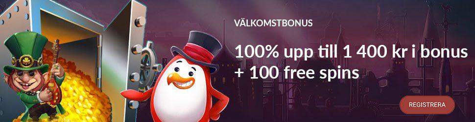 Red Ping Win casino välkomstbonus ger dig upp till 1 400 kr och 100 free spins