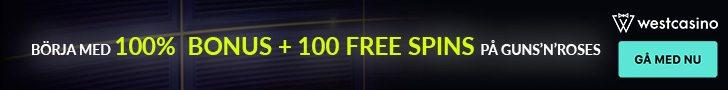 West Casino bonus upp till 100 free spins vid första insättnign