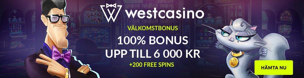 West Casino välkomstbonus ger dig upp till 6 000 kr och 200 free spins