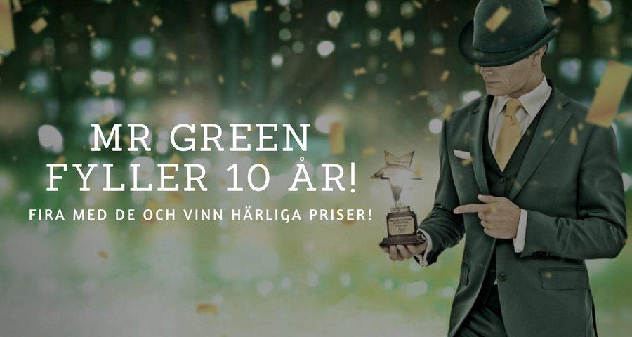 Mr Green Casino 10 år - fyra med casinot och vinn härliga priser!
