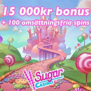 Sugar Casino omsättningsfria free spins - hämta 100 free spins utan omsättningskrav