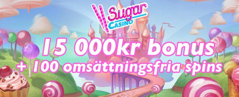 Sugar Casino välkomstbonus - 15 000 kr och 100 free spins utan omsättningskrav