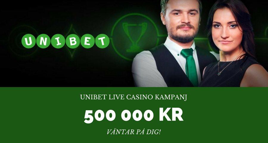 Unibet Live casino kampanj - vinn upp till 500 000 kr