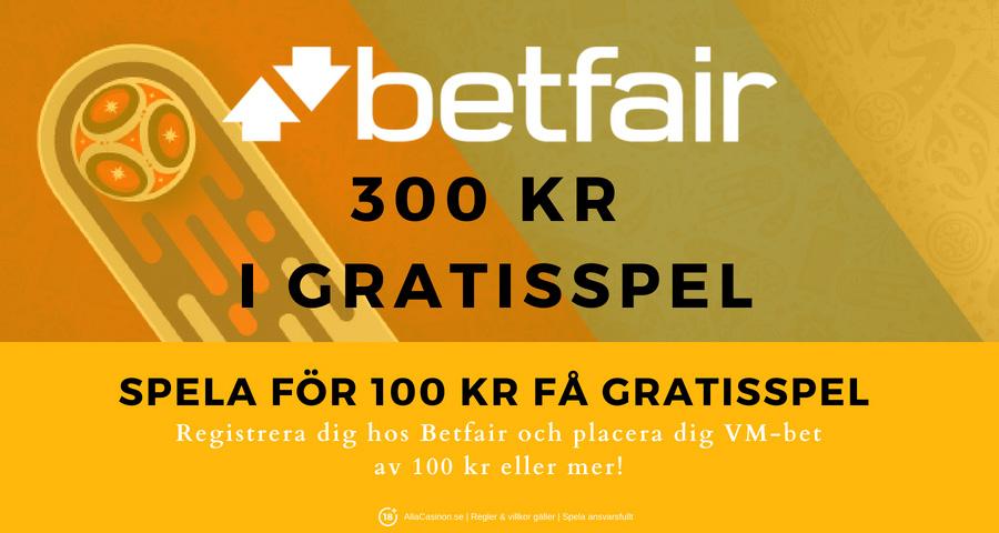 Betfair odds VM 2018 - Spela för 100 kr få gratisspel för 300 kr