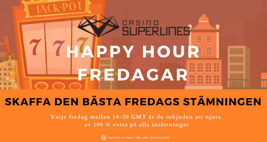 Casino Superlines kampanj Happy Hour - njuta av 100% extra på alla dina insättningar