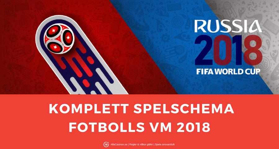 Spelschema fotbolls VM 2018 - alla matchtider och programmet av Rysslands VM