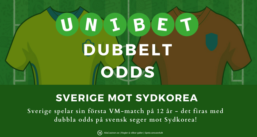 Unibet casino kampanj - Dubbelt odds när Sverige vinner mot Sydkorea