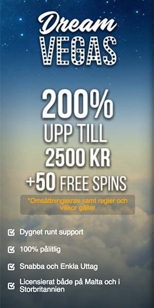 Dream Vegas casino bonus - få 50 free spins och 200% genom din första insättning