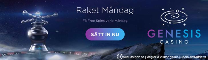 Genesis Casino kampanj - delta på Raket Måndag och få free spins varje vecka