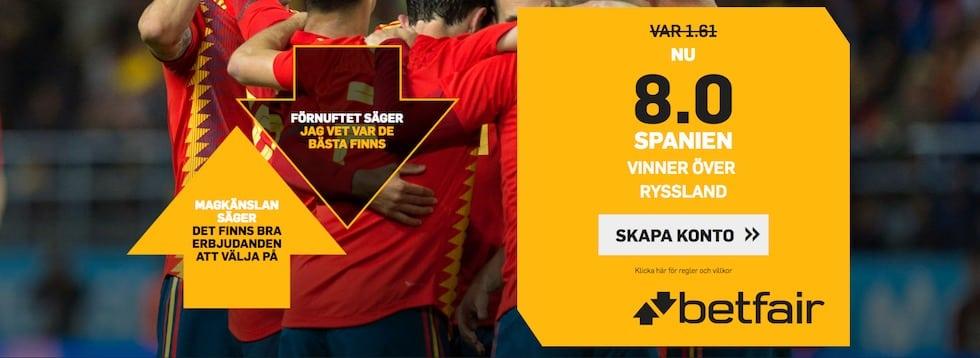 Betfair bästa VM 2018 speltips - få 8 gånger pengarna på Spanien Ryssland