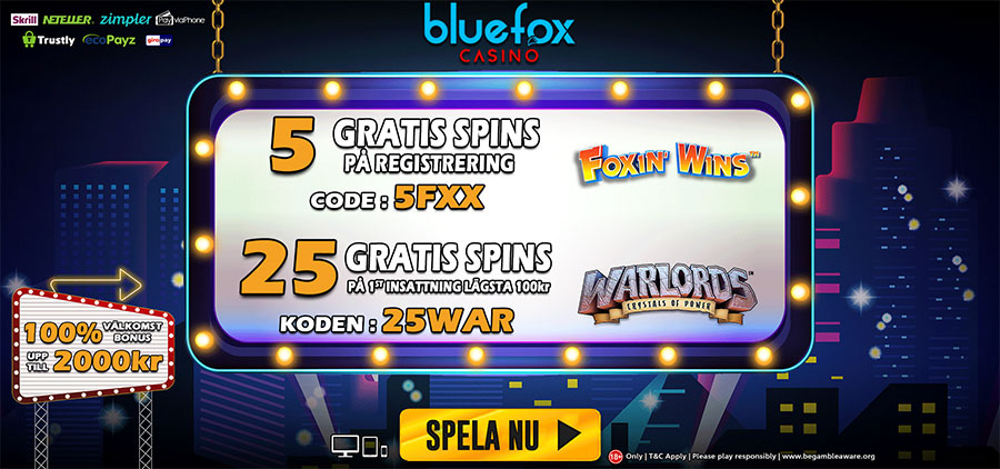 Blue Fox casino no deposit free spins