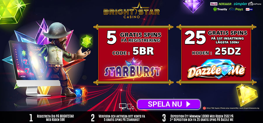 BrightStar Casino no deposit free spins