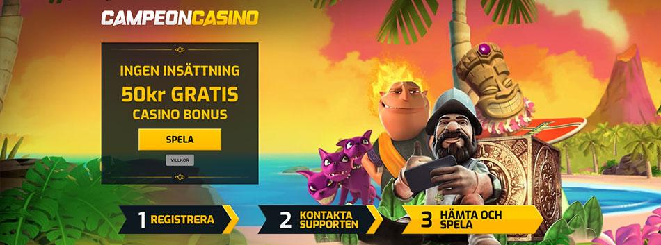 CampeonBet casino gratis erbjudande - 50 kr gratis utan insättningskrav vid registrering