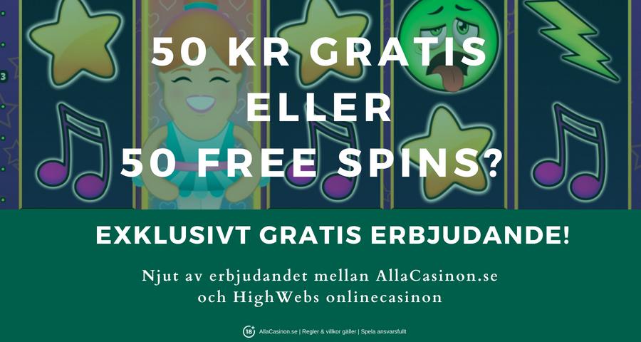 Spela gratis casino med AllaCasinon.se och HighWebs - hämta 50 kr eller 50 free spins vid registrering