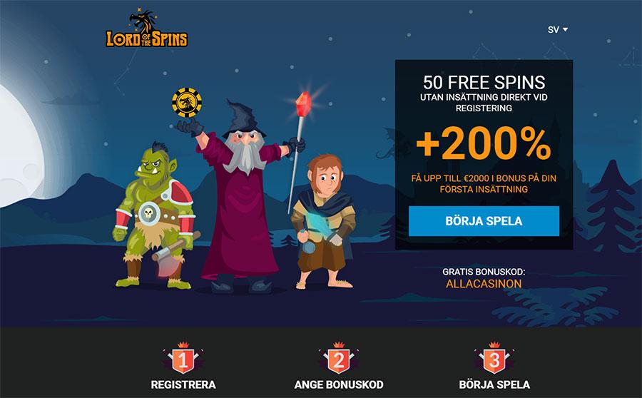 Lord of the Spins casino gratis erbjudande - 50 free spins helt gratis vid registrering