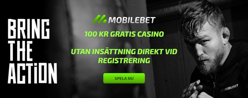 Mobilebet Casino gratis pengar - 100 kr gratis vid registrering