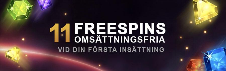 Videoslots Casino 11 free spins utan omsättningskrav