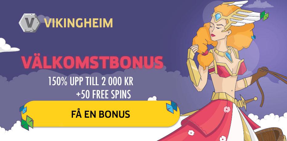 Vikingheim casino välkomstbonus - 150% upp till 2 000 SEK samt 50 free spins
