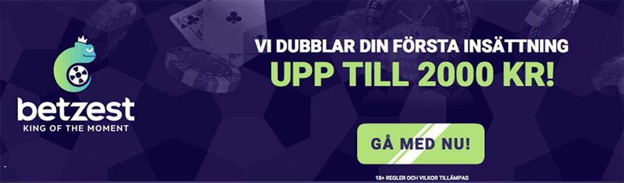 Betzest casino välkomstbonus - dubblar din första insättning upp till 2 000 kr