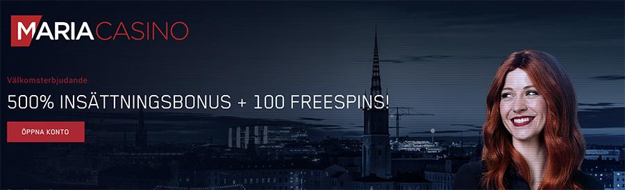 Maria Casino insättningbonus 500% samt 100 freespins