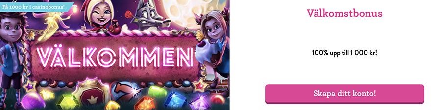 Vinnarum casino välkomstbonus - 100% upp till 1 000 kr