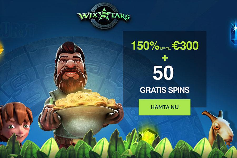 Wixstars casino bonuskod - 50 free spins och 150% i bonus genom koden BURTS150