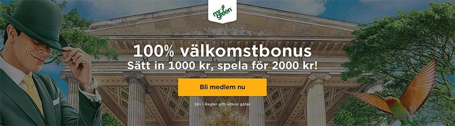 MrGreen Casino bonus - sätt in 1 000 kr spela för 2 000kr