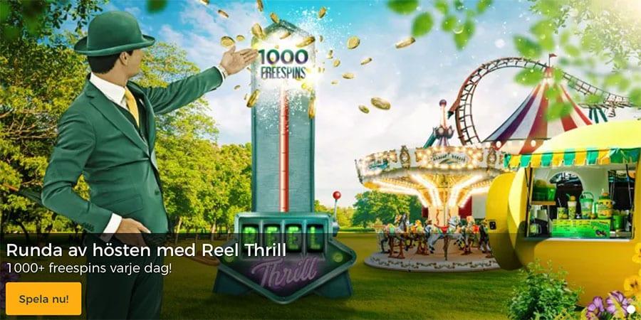 Spela på dagligaReel Thrill-turneringar hos MrGreen casino