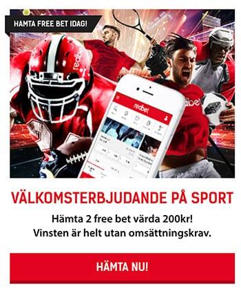Redbet casino 2 free bet av 200 kr