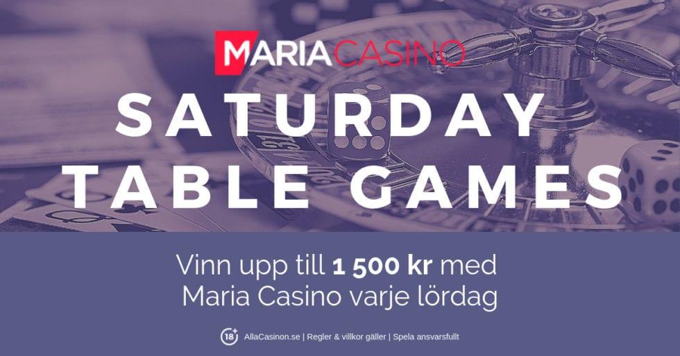 Maria Casino live casino turnering: spela på Saturday Tables Games!