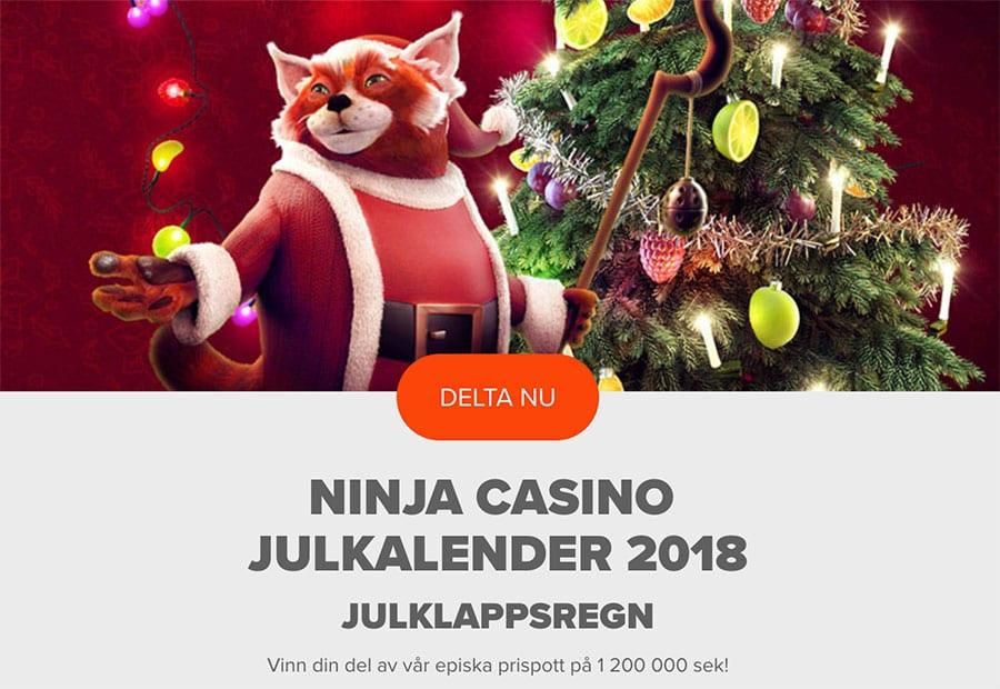 Ninja Casino julkalender 2018 - upp till 1 200 000 kr prispott