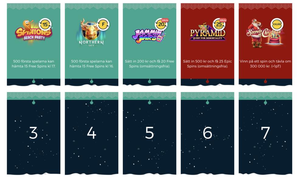 CasinoPop julkalender 2018 dagliga vinster
