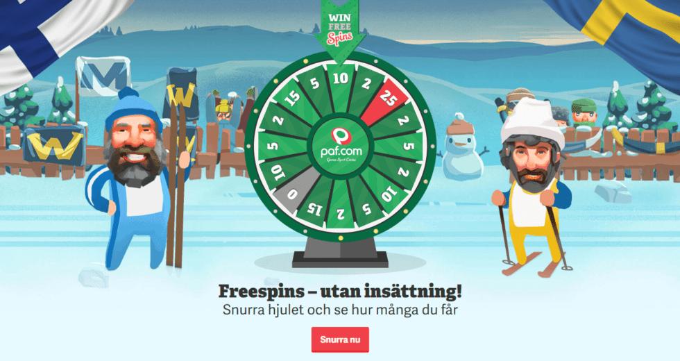 Paf casino julkalender 2019 - snurra hjulet och se hur många free spins utan insättning du får!