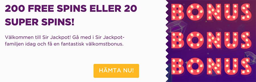 Sir Jackpot Casino free spins vid första insättning