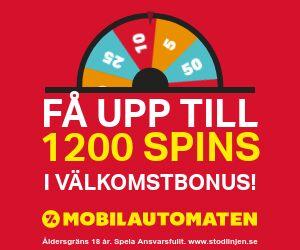 Mobilautomaten välkomstbonus: 300% casino bonus +upp till 1200 freespins i välkomstbonus !