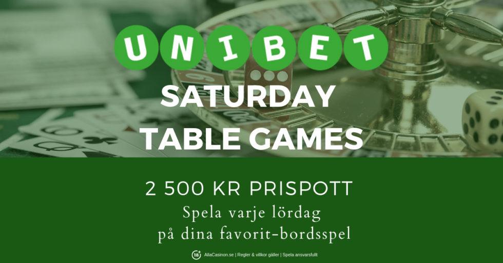 Dags förSaturday Table Games med Unibet Casino igen