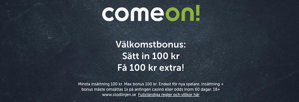 ComeOn Casino erbjudande - sätt in 100 kr och spela för 100 kr