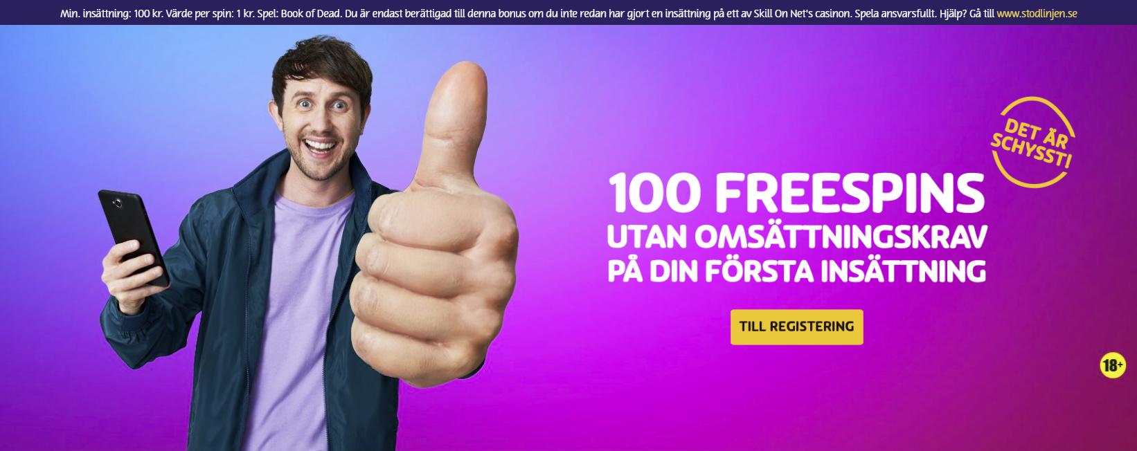Free spins utan omsättningskrav 2019: få 100 free spins utan omsättningskrav på din första insättning hos PlayOJO!