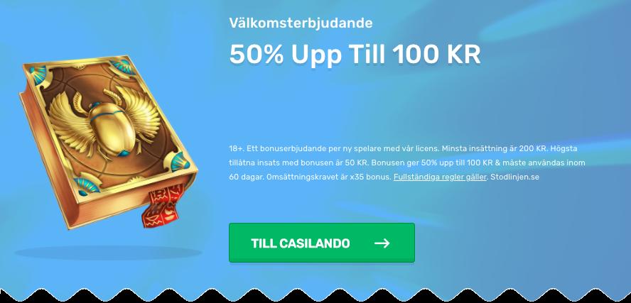 Casilando casino bonus: 50% > 100 kr +free spins no deposit!
