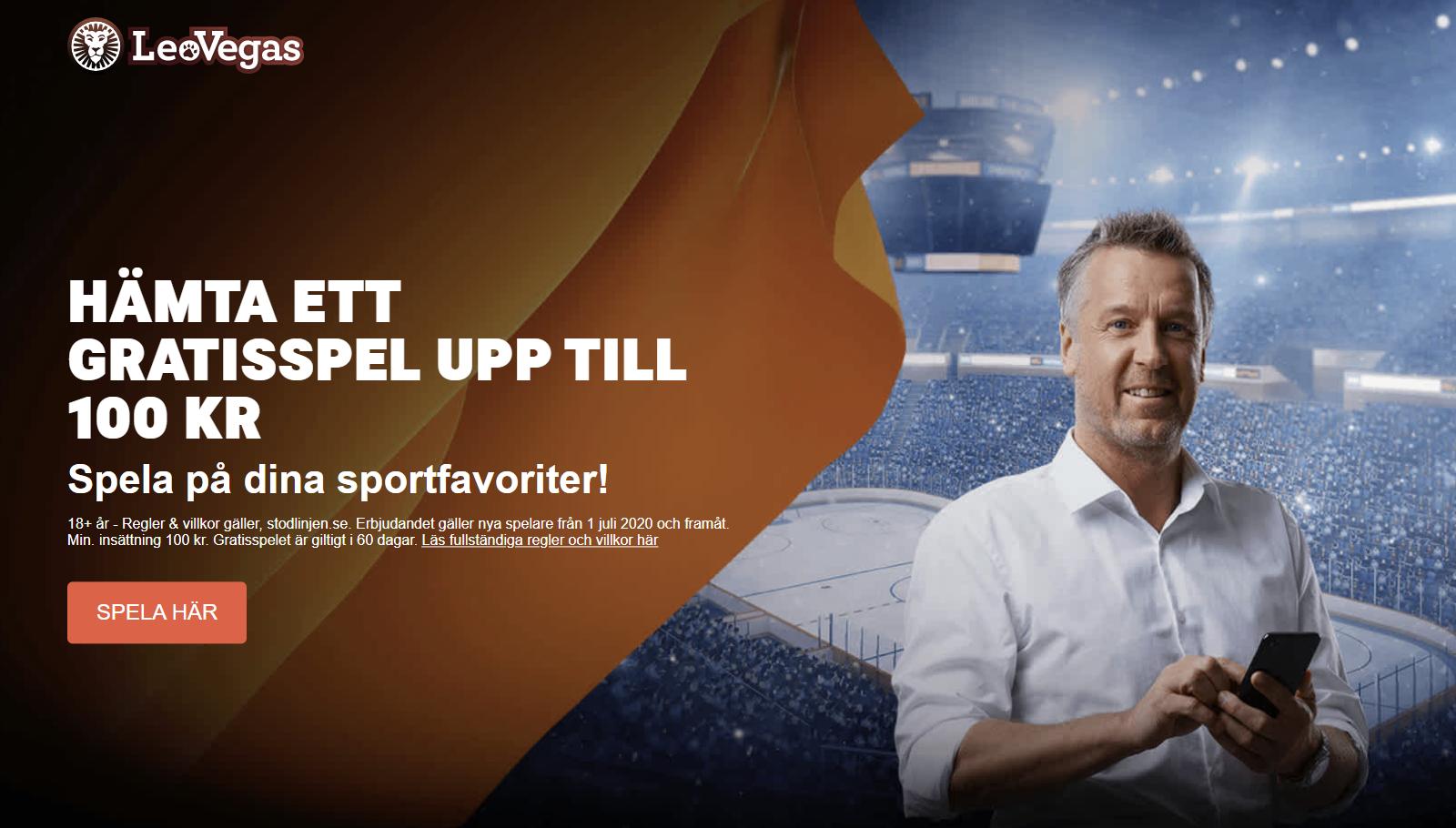 Leovegas sport bonus - gratisspel upp till 100 kr