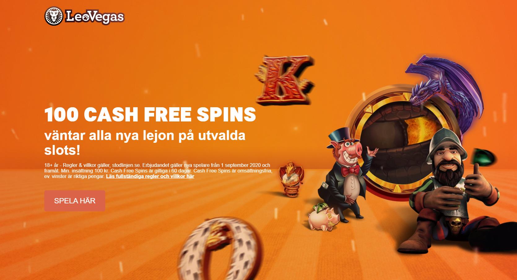Leovegas casino bonus - 100 cash free spins utan omsättningskrav vid första insättning!